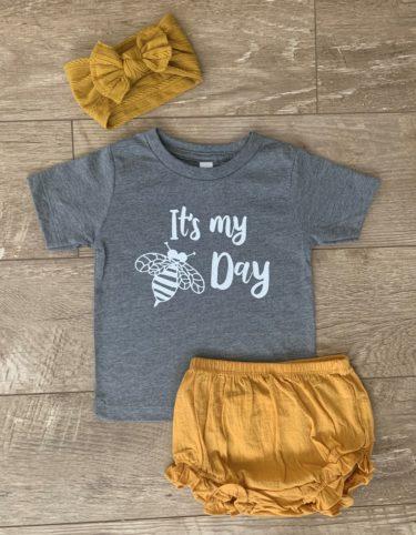 bee bodysuit and tshirt